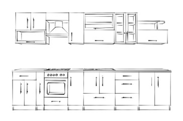 Kitchen furniture set. Sketch black-and-white.
