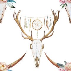 Watercolor pattern with deer head