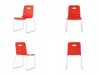 simple chair over white background