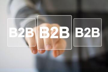 Businessman pressing web button b2b icon.