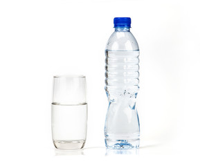 fresh drink water bottle and glass on white background