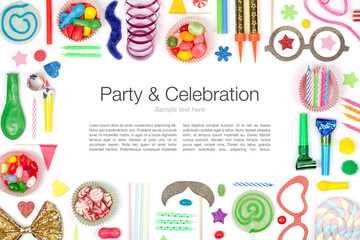 party and celebration elements on white background