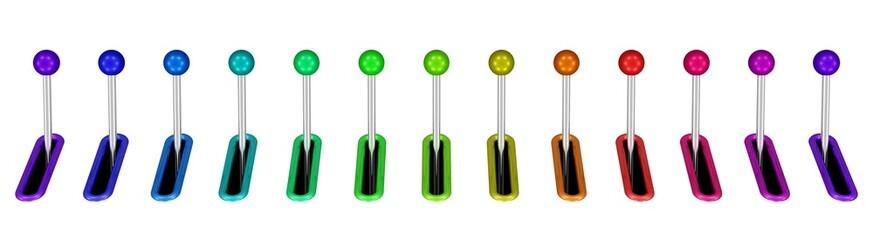 eine Reihe Hebel in vielen Farben