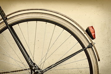 Retro styled image of a bicycle rear wheel