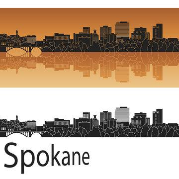 Spokane skyline in orange background in editable vector file