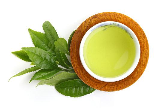 Japanese green tea and fresh green tea leaves