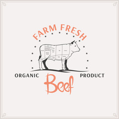 Butcher Shop Logo, Meat Label Template, Beef Cuts Diagram