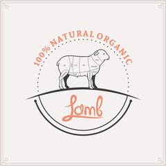Butcher Shop Logo, Meat Label Template, Lamb Cuts Diagram