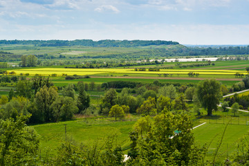 In de dag Lime groen Vistula river valley