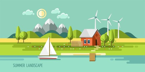 Summer landscape. House on the nature. Vector illustration.