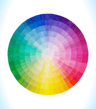 Multicolor vector spectral circle. Hand drawn watercolor.