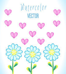 Watercolor background with daisies and hearts
