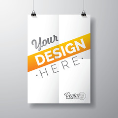 Vector poster template of a folded paper sheet.