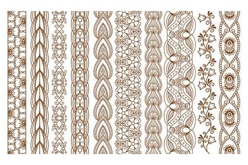 Indian Henna Seamless Borders