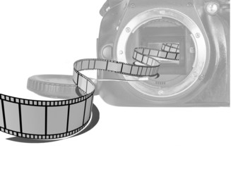 film stripe, camera dslr, space for your text
