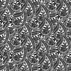 Ornamental seamless pattern. Vector black and white texture