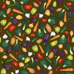 Veggie seamless vector pattern with vegetables