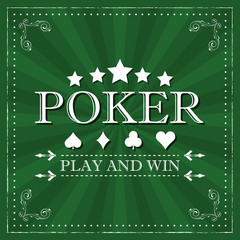 Retro poker vector background with card symbol and ornate frame