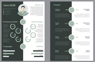 Modern 2 sided cv resume