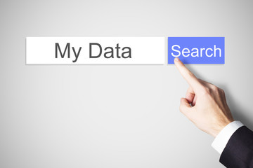 finger pushing blue websearch button my data