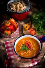 pepper soup also full grain noodles