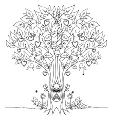 The tree of love with cute howl vector