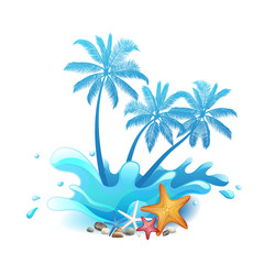 Palm trees with splash isolated on white