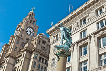 Historic buildings at Liverpool's waterfront.