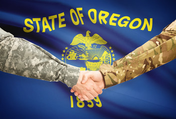 Military handshake and US state flag - Oregon