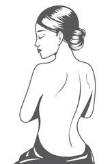Outline beautiful woman cartoon back view