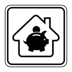 Logo maison et tirelire.