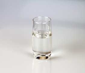 Glass of fresh drink water on grey backgrund