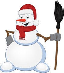 Cheerful snowman with a broom