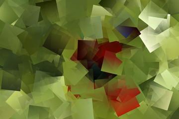 Mosaik in den Farben grün und rot, Kubismus