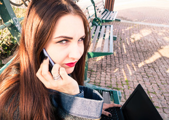 Young woman tired to be harassed calling for help-