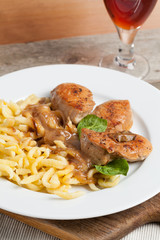 Veal in gravy with Swabian spaetzle.