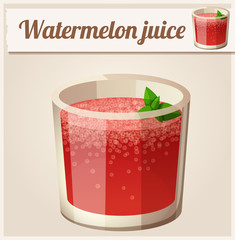 Watermelon juice. Detailed Vector Icon
