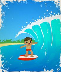 Сute cartoon surfer.  Vector illustration