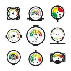 Manometer set, pressure gauge and measurement