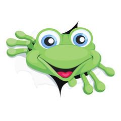 Frog breaking wall vector