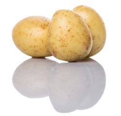 Baby potatoes over white background