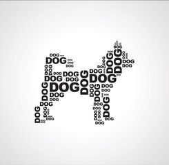 dog consists of the words dog black n white background