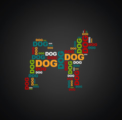 dog consists of the words dog full color on a black background