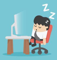 businessman sleep at his office