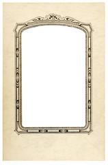 Old fashioned picture frame with white cut out, vertical.