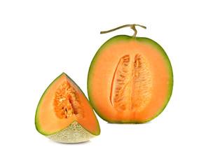 ripe orange melon with stem on white background