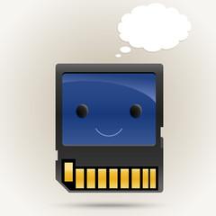 Memory card boy cartoon character