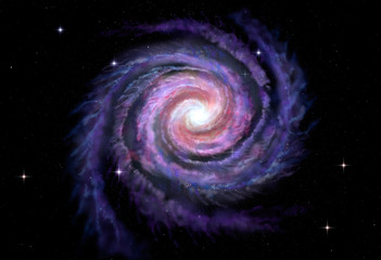 Fototapete - Spiral galaxy, illustration of Milky Way