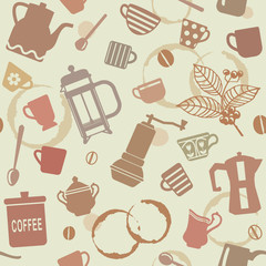 Seamless pattern with coffee related elements 1