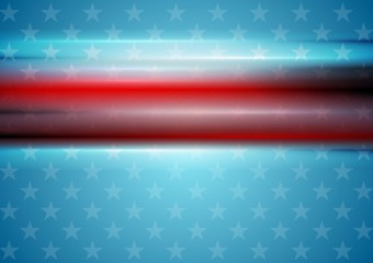 Red smooth stripes on blue star background. Usa